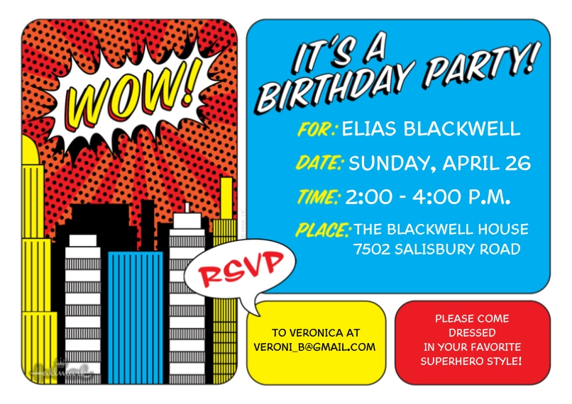 Kids Birthday Party 5x7 Cards, Premium Cardstock 120lb with Rounded Corners, Card & Stationery -Comic Book Birthday