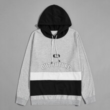 Men Color-block Letter Graphic Drawstring Hoodie
