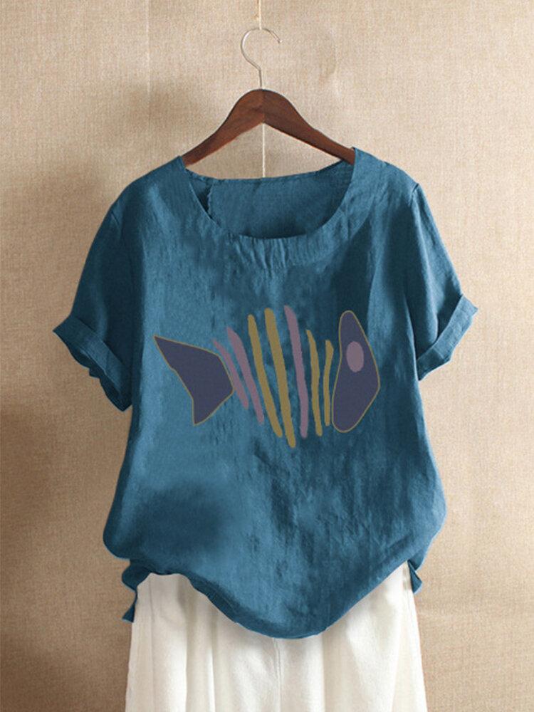 Fish Print Short Sleeve O-neck Casual Cotton T-shirt