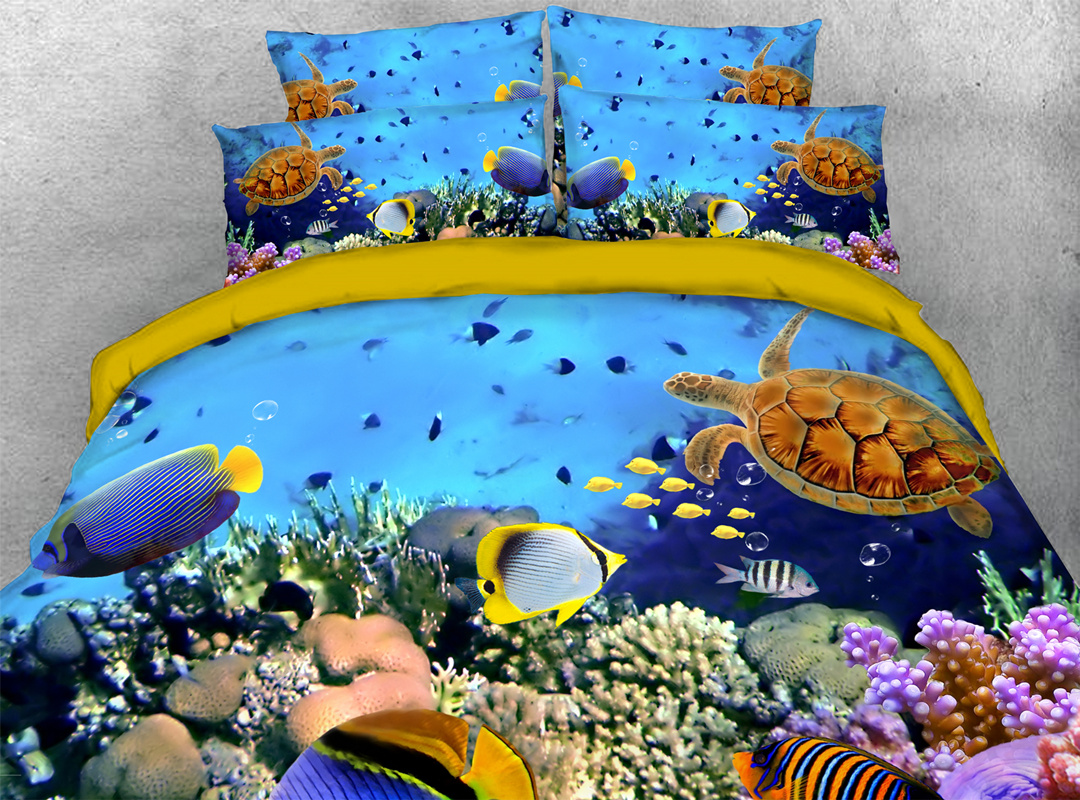 3D Underwater World Fish and Turtle 5-Piece Comforter Set Polyester Zipper Ties Colorfast/Wear-resistant/Skin-friendly Bedding Sets