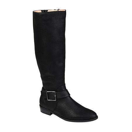 Journee Collection Womens Winona Riding Boots Stacked Heel, 9 Medium, Black