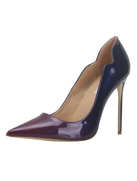 Milanoo Women Dress Shoes Purple Pointed Toe Stiletto Heel Slip On Pumps High Heels