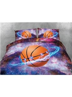 Basketball Star and Galaxy Printing Cotton 4-Piece 3D Bedding Sets/Duvet Covers