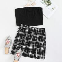 Crop Tube Top and Split Hem Plaid Skirt Set