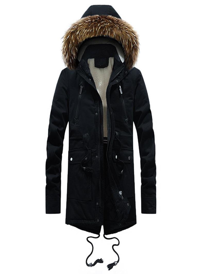 Ericdress Plain Zipper Pocket Hooded Thick Mens Winter Coats