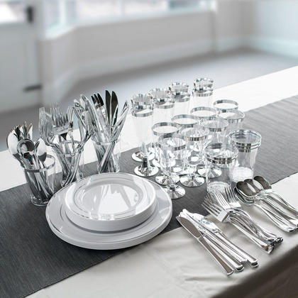 Premium Plastic Party Tableware Combo Kit for 8 Guests, White Silver - LIVINGbasics™ - 8 Kits