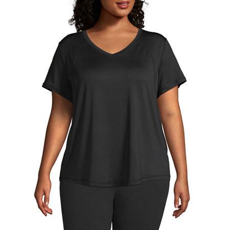 Xersion Womens V Neck Short Sleeve T-Shirt Plus, 5x , Black