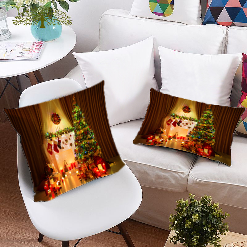 Christmas Tree and Ornaments 3D Printing Polyester Throw Pillow