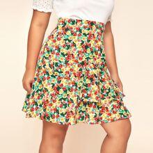 Plus Allover Floral Print Ruffle Hem Skirt