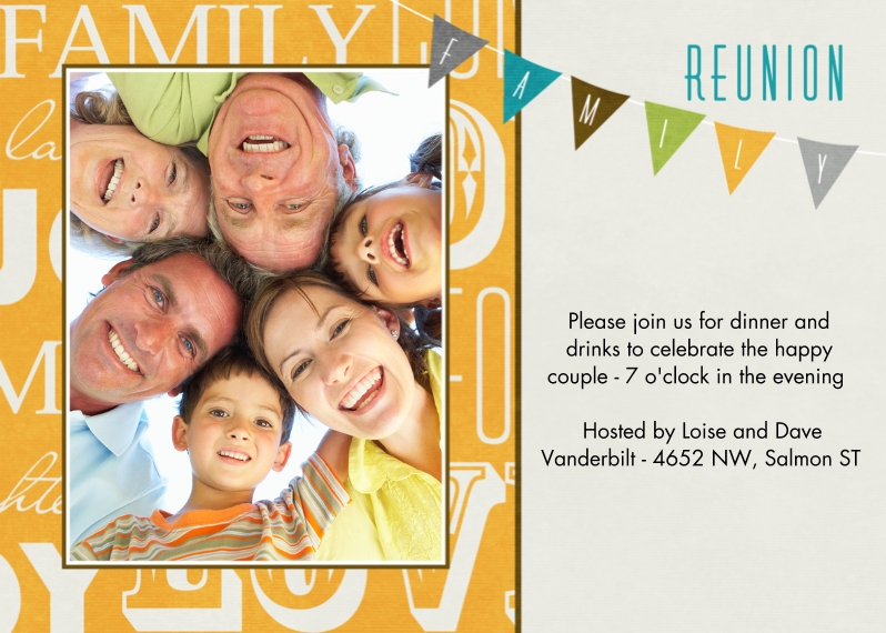 Party Invitations 5x7 Cards, Premium Cardstock 120lb with Rounded Corners, Card & Stationery -Reunion Banner
