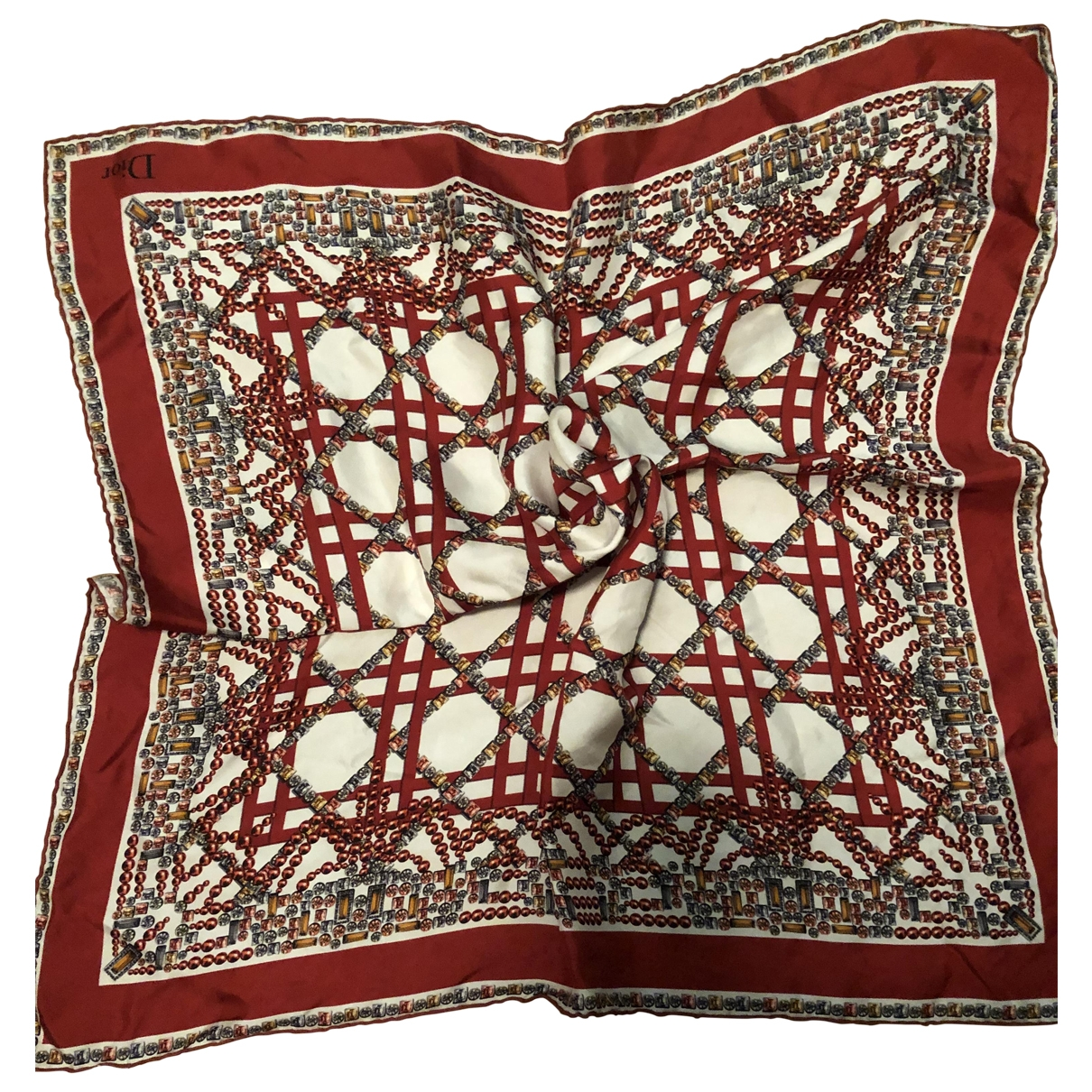 Dior \N Red Silk scarf for Women \N