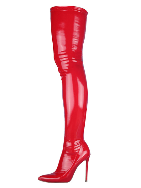 Milanoo Thigh High Boots Womens Patent PU Pointed Toe Stiletto Heel Over The Knee Boots