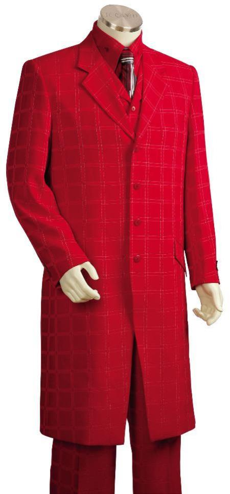 Mens Stylish Tile Pattern Single Breasted Zoot Suit Red