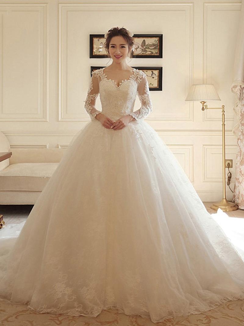 Ericdress Appliques Long Sleeve Ball Gown Wedding Dress