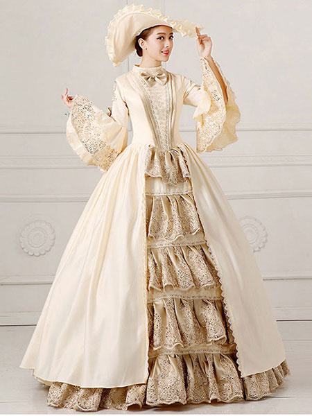 Milanoo Victorian Dress Costume Women's Ball Gown Champagne Pageant Victorian era Clothing Retro Costumes Halloween