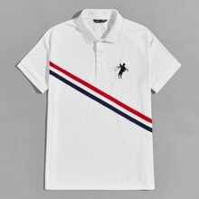 Men Figure and Horse Embroidered Striped Trim Polo Shirt