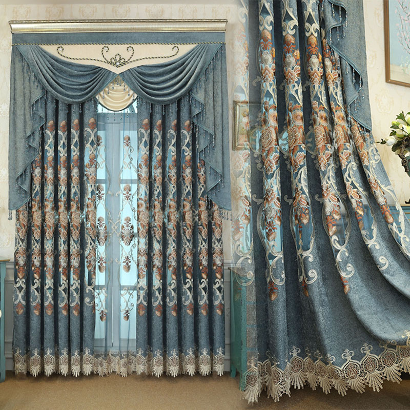 European Floral Embroidered Custom 2 Panels Chenille Blackout Curtain Drapes for Living Room No Pilling No Fading No off-lining