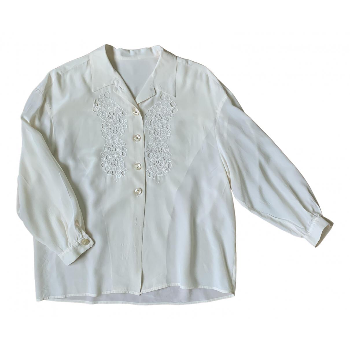 Non Signé / Unsigned Oversize Beige Silk  top for Women L International