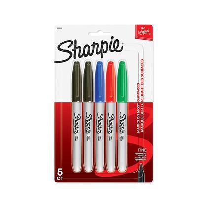 Sharpie Fine Point marqueurs permanents,5 / paquet, encres assorties (30653PP)