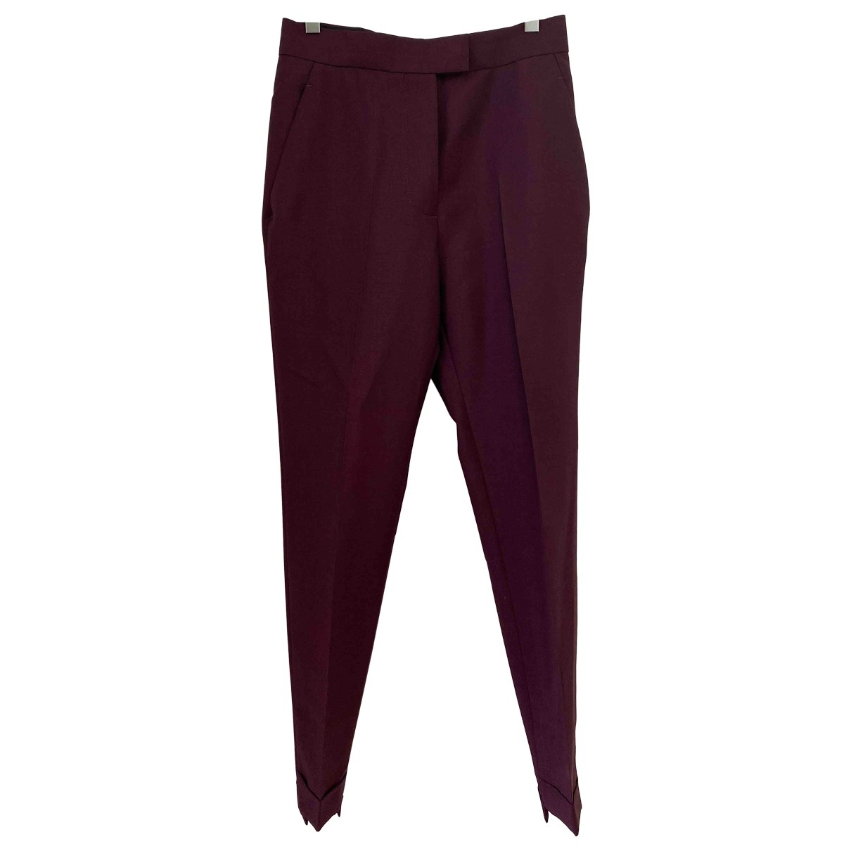 Acne Studios \N Burgundy Wool Trousers for Women 34 FR