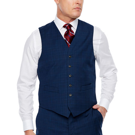 Stafford Mens Plaid Stretch Classic Fit Suit Vest, Small , Blue