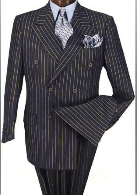 Alberto Nardoni Navy Blue and Gold StripeSuper 150 Wool Suit Designed