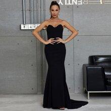 DKRX Zip Back Mermaid Hem Tube Prom Dress