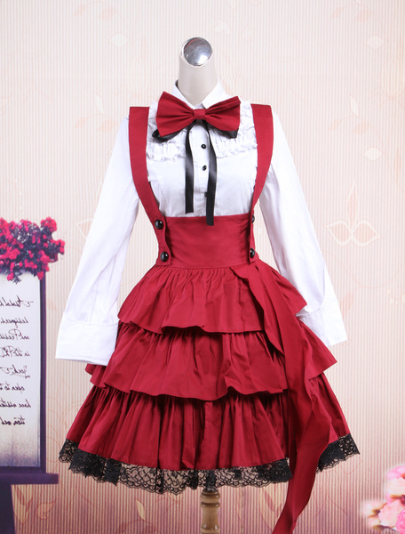Milanoo Cotton White Long Sleeves Blouse And Black Ruffles Lolita Skirt Outfit