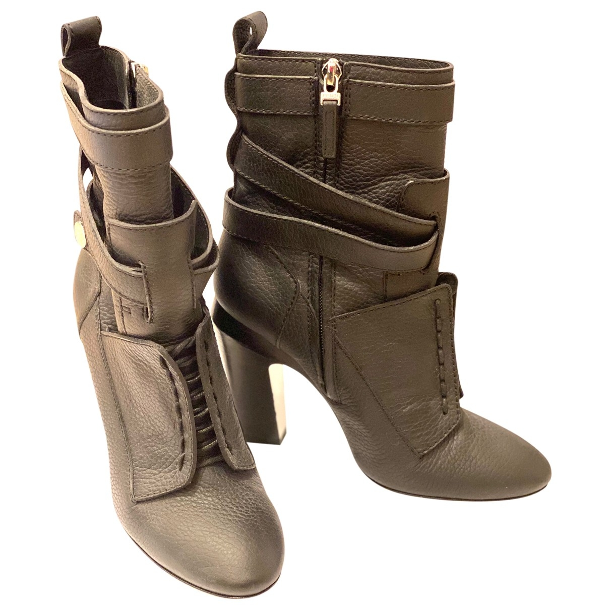 Fendi \N Black Leather Boots for Women 37 EU