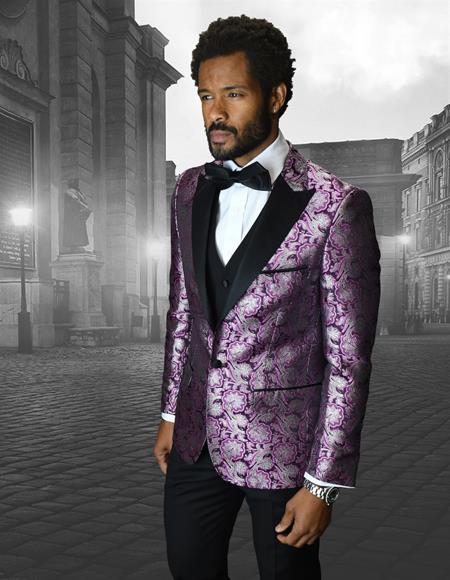 Single Breasted Peak Label Purple ~ Laveder Tuxedo Suit