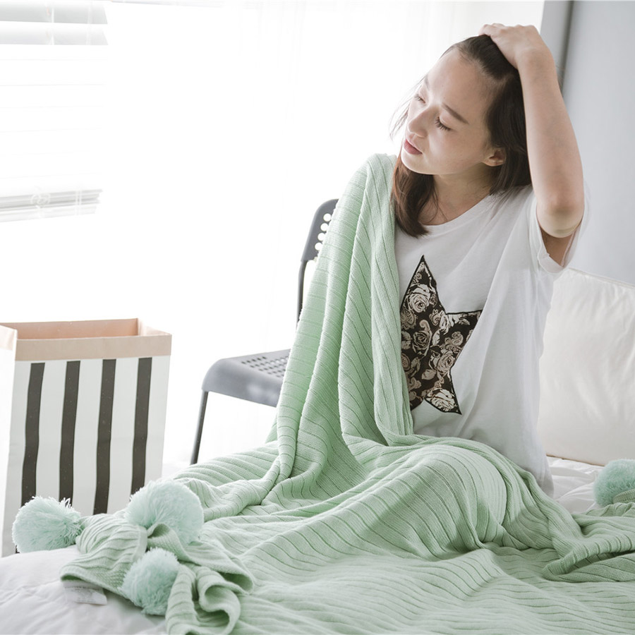 Cotton Material Plain Pattern Knitting Technics Hand Wash Cleaning Thread Blanket