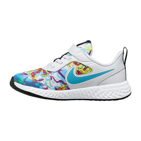Nike Revolution 5 Fable Little Kids Girls Running Shoes, 11 Medium, White