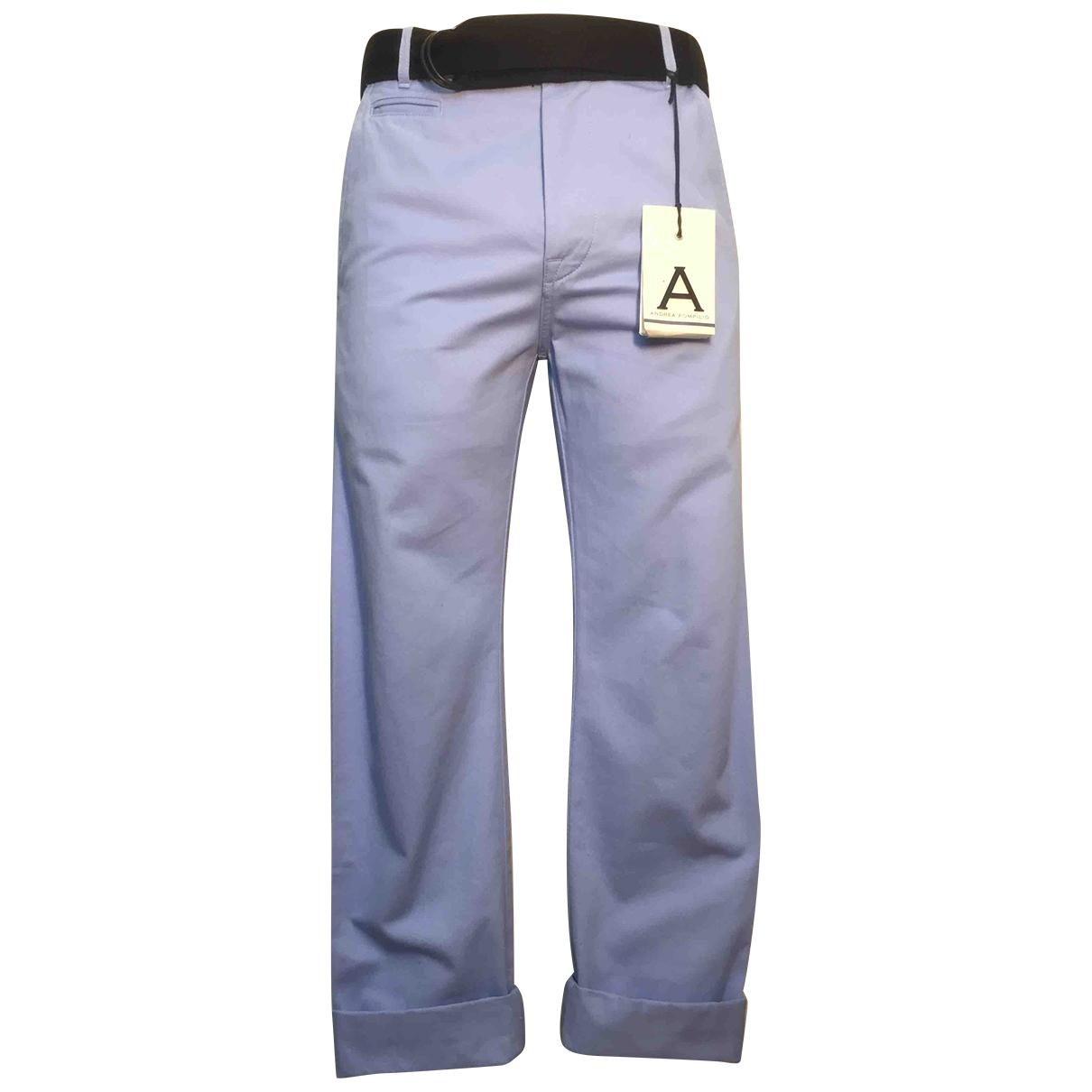 Andrea Pompilio \N Blue Cotton Trousers for Men 44 IT