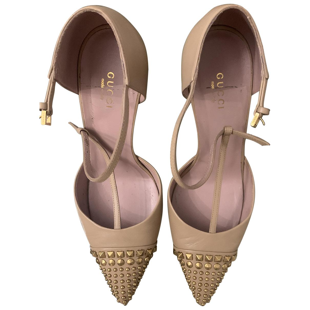Gucci \N Beige Leather Heels for Women 39 EU