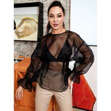 HouseOfChic Flounce Sleeve Sheer Organza Top Without Bra
