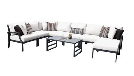 Lexington LEXINGTON-09d-WHITE 9-Piece Aluminum Patio Set 09d with 1 Left Arm Chair  1 Right Arm Chair  1 Corner Chair  4 Armless Chairs  1 Ottoman
