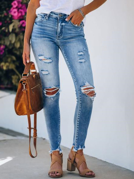Milanoo Ripped Jeans Distressed Denim Pants For Women