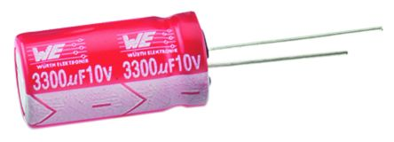 Wurth Elektronik 150μF Electrolytic Capacitor 16V dc, Through Hole - 860240374005 (10)