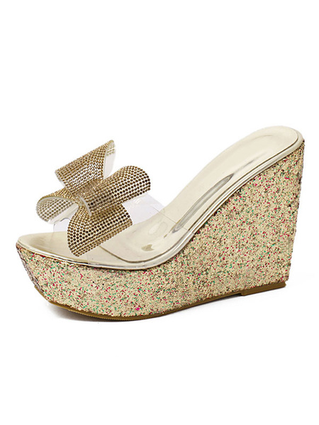 Milanoo Golden Wedge Shoes Women's Peep Toe Bow Decor Transparent Upper Sandal Slippers