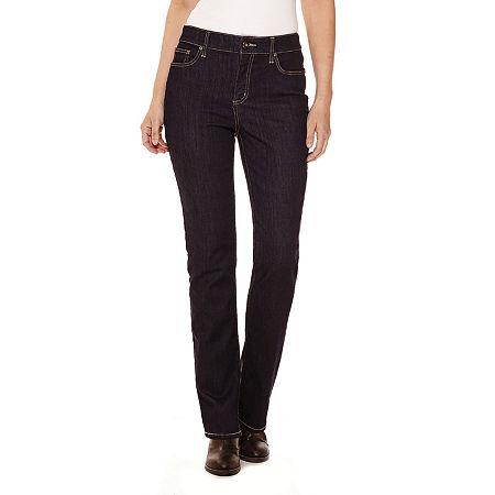 St. John's Bay Womens Mid Rise Straight Leg Jean, 18 Long , Blue