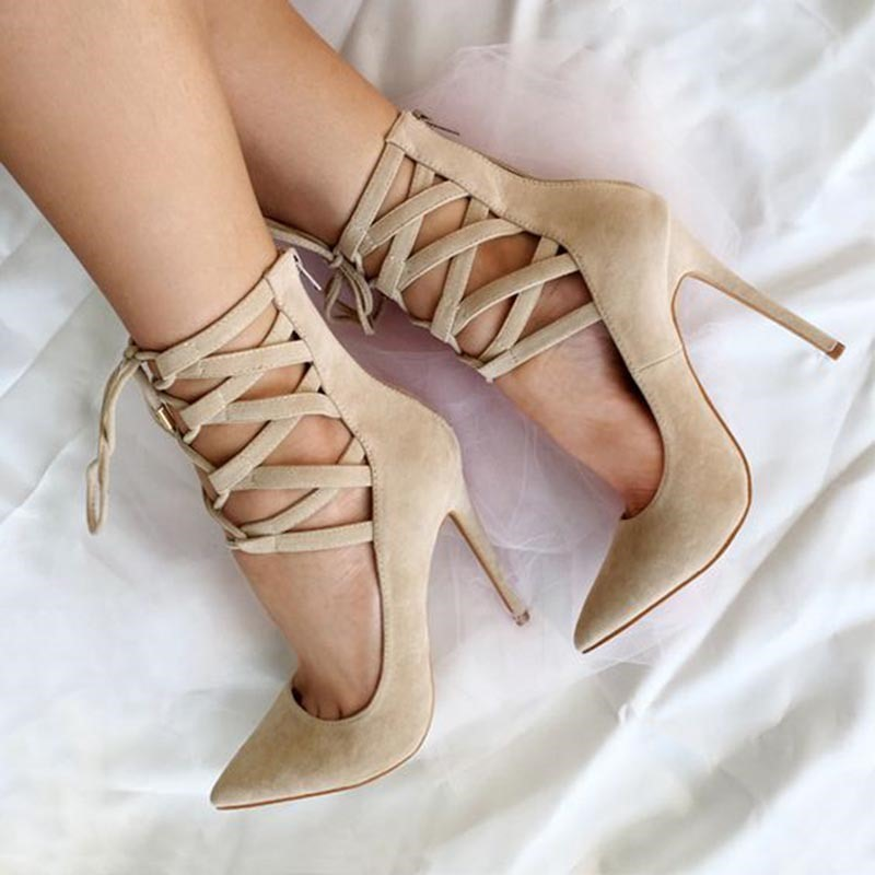 Ericdress Beige Cross Strap Pointed Toe Pumps