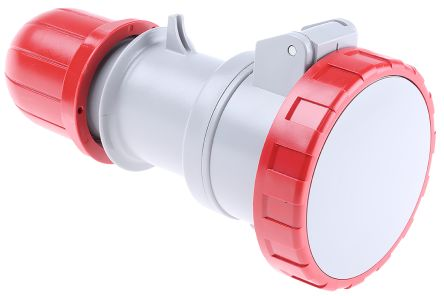 RS PRO IP66, IP67 Red Cable Mount 3P+N+E Industrial Power Socket, Rated At 16.0A, 415.0 V