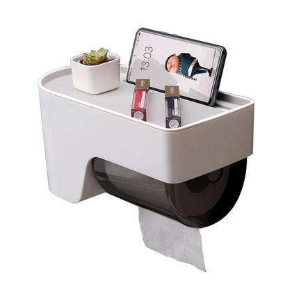 We Remain Open Multi-Functional Paper Roll Holder Wall-Mounted Non Drilling Waterproof Toilet Paper Dispenser