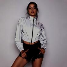 Zip Up Drawstring Hem Reflective Jacket