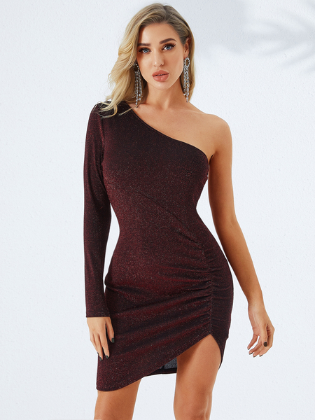 YOINS Burgundy One Shoulder Long Sleeves Dress