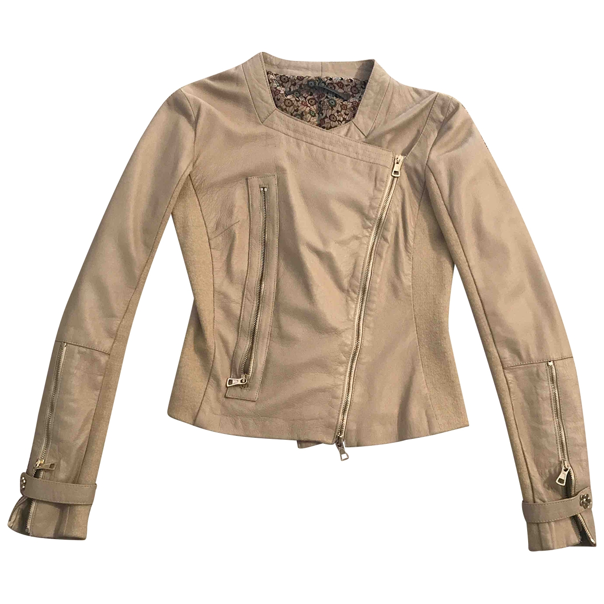 Non Signé / Unsigned \N Beige Leather Leather jacket for Women 40 IT