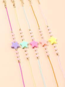 5pcs Girls Star Bead String Bracelet