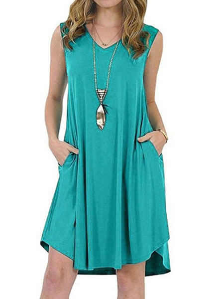 Milanoo Oversized Summer Dresses Women V Neck Sleeveless Shift Dress With Pockets