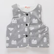 Toddler Girls Geo Print Teddy Vest