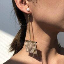Rhinestone Tassel Decor Drop Earrings
